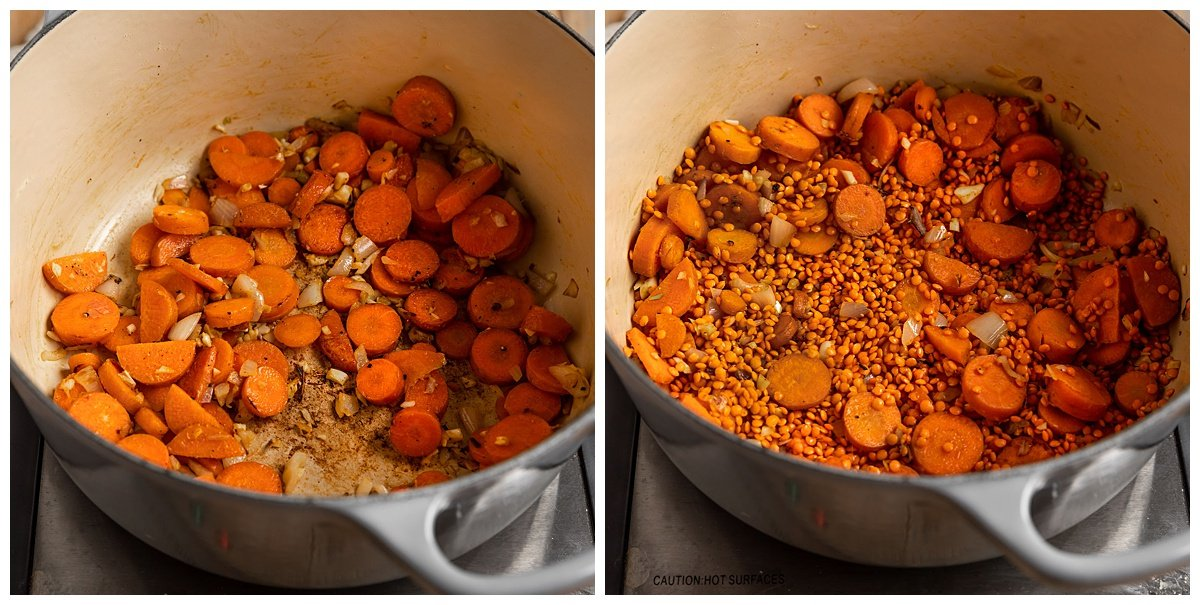 two pictures of carrots and shallots being sautéed then mixed with red lentils and ginger