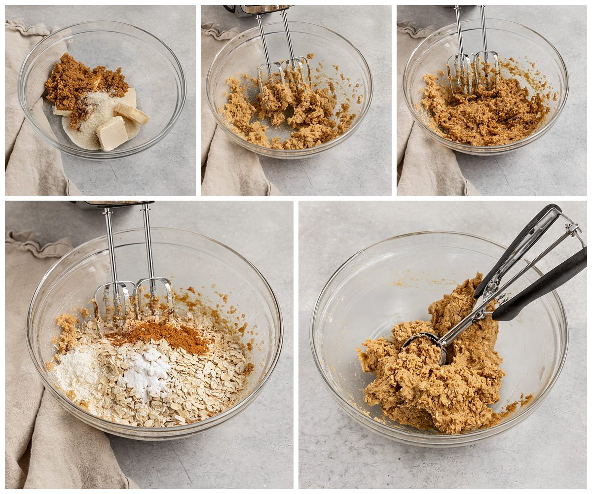 five pictures showing ingredients being added to a mixing bowl to make oatmeal cookie dough