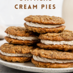 """cookie sandwich with text """"vegan oatmeal cream pies, soft & chewy!""""."""