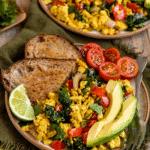 "image with text ""Southwest tofu scramble, vegan & dairy-free!"""