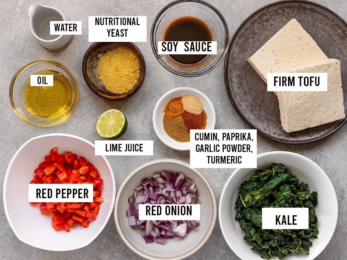 labeled ingredients including firm tofu, red pepper, red onion, kale, nutritional yeast, soy sauce, lime juice, water, oil, and spices