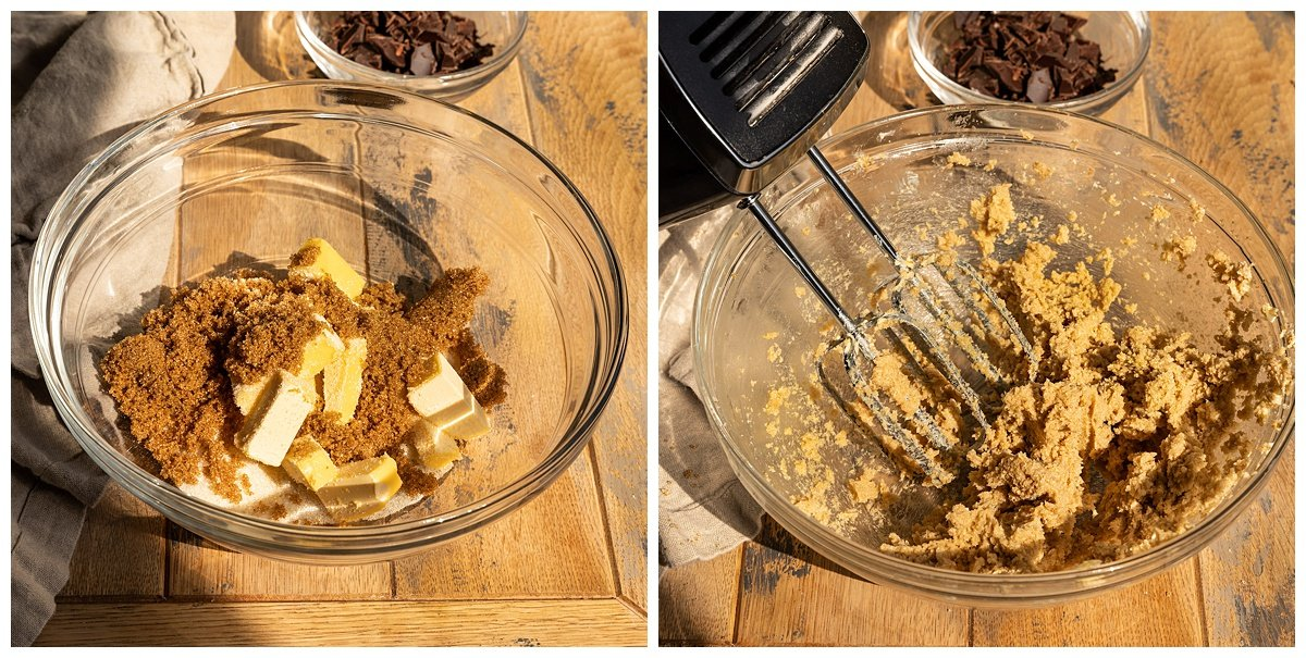 two pictures of vegan butter, brown sugar, and cane sugar being creamed together into mixing bowl