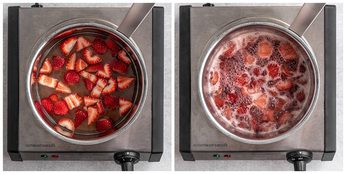 two pictures of a saucepan with strawberries sugar and water being cooked into a simple syrup