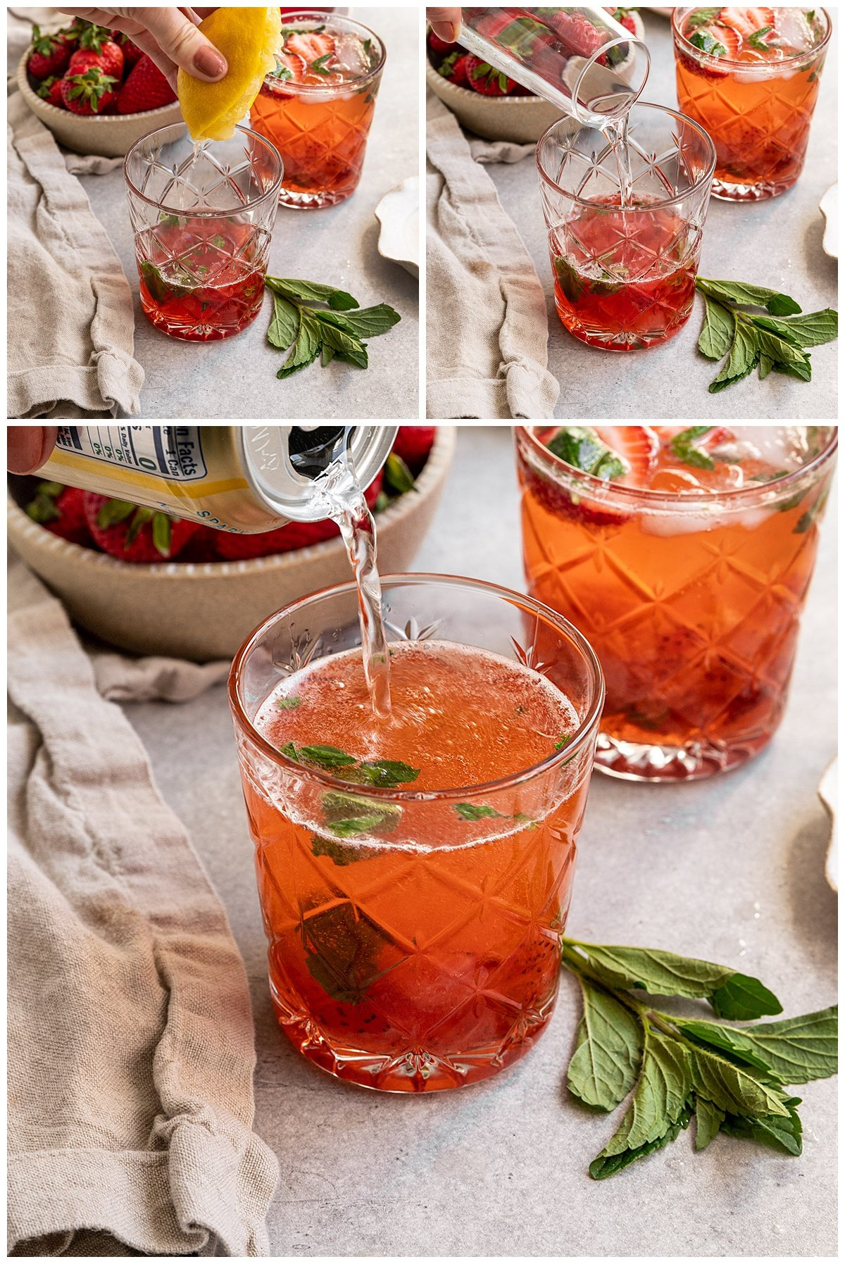 three pictures of gin, lemon juice, and sparkling water being added to a strawberry mojito