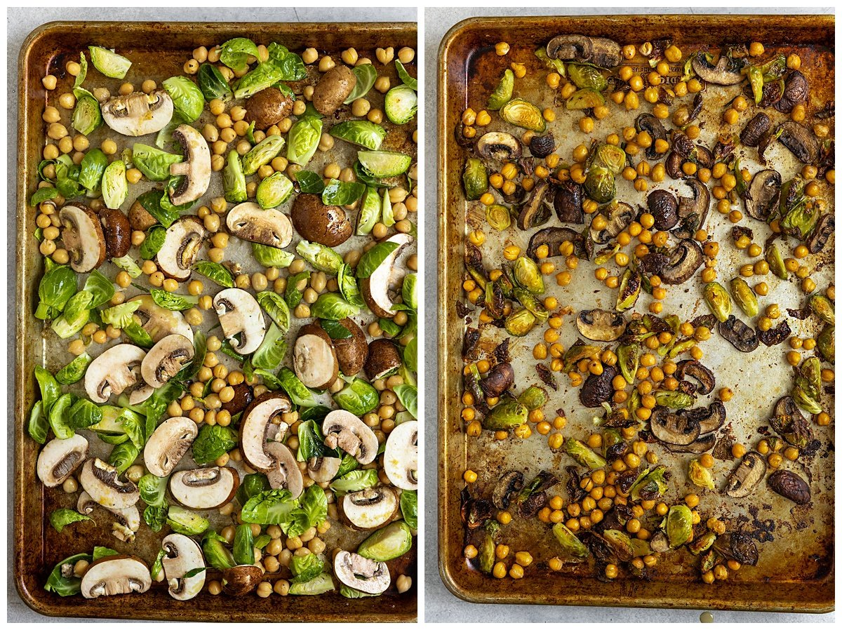 two pictures of mushrooms, brussel sprouts, and chickpeas on baking tray before and after being roasted