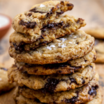 """stack of cookies with the text """"vegan chocolate chunk cookies, soft & chewy!"""""""