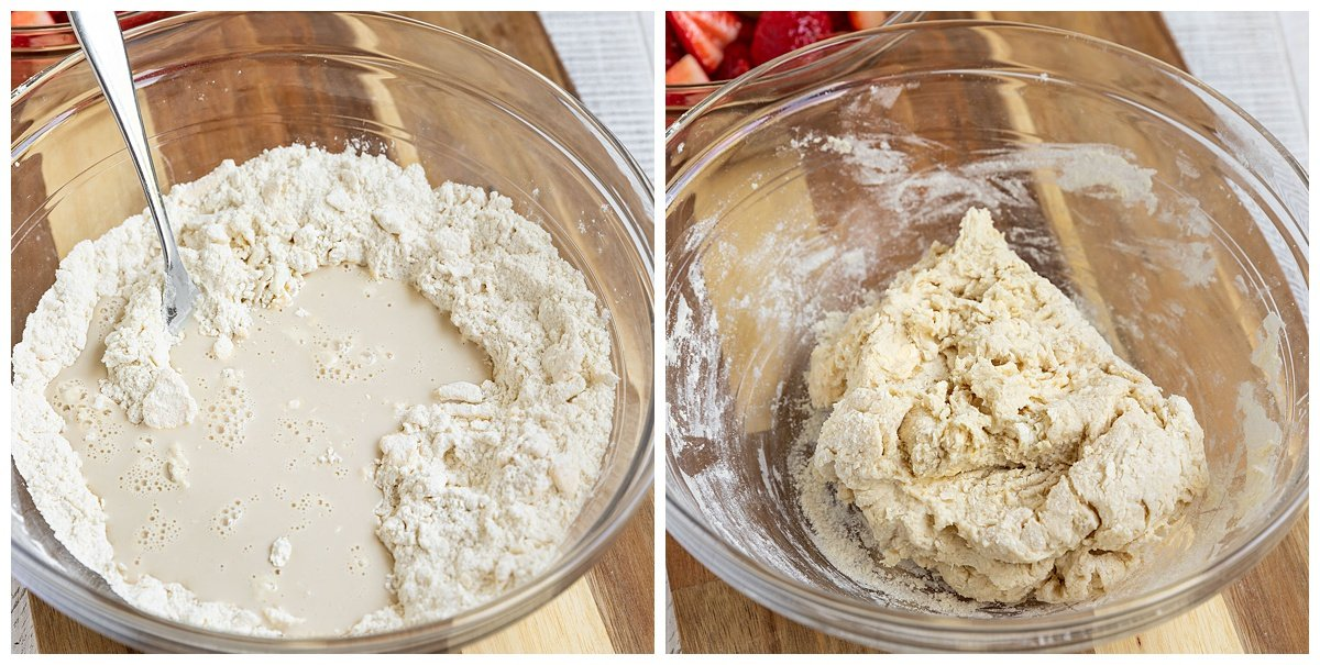 two pictures of milk being added to bowl of dry ingredients and being mixed into dough