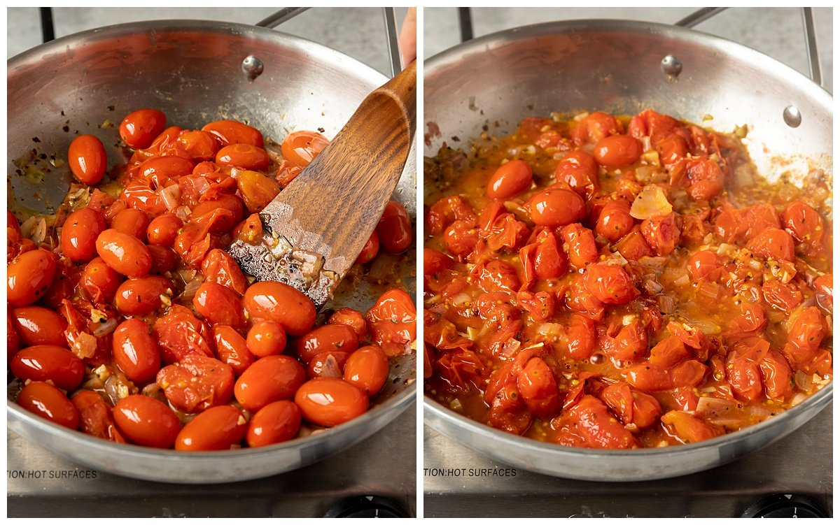 two pictures of cherry tomatoes being cooked until they burst in a pan