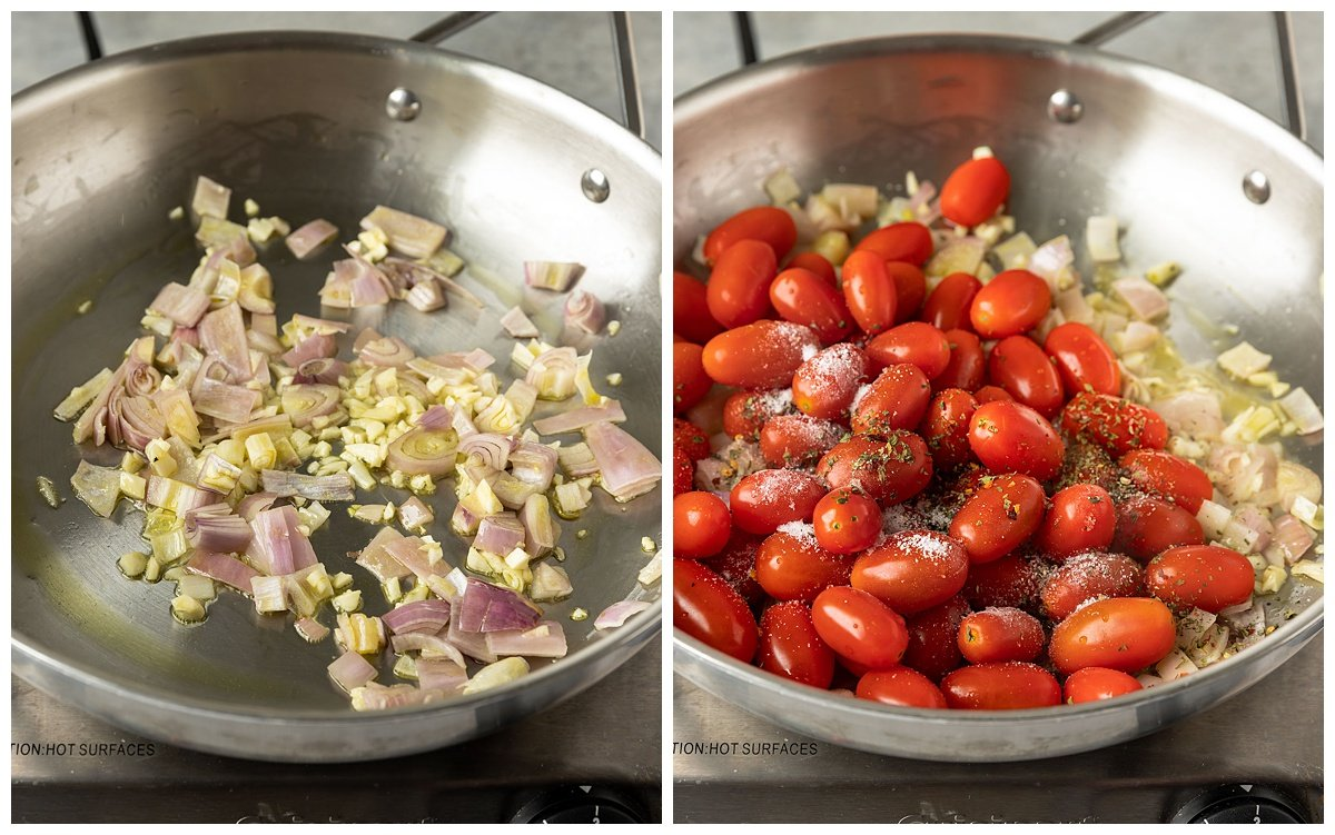 two pictures of garlic and shallots being sautéed and adding in tomatoes and spices