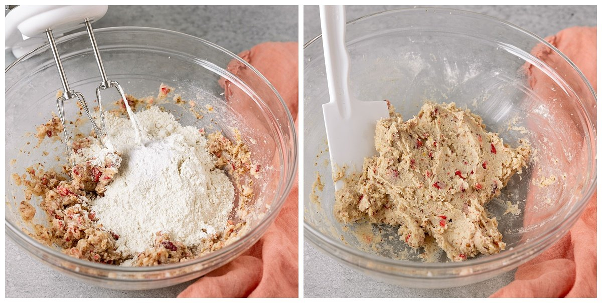 two pictures of dry ingredients being added to mixing bowl and mixed into strawberry cookie dough
