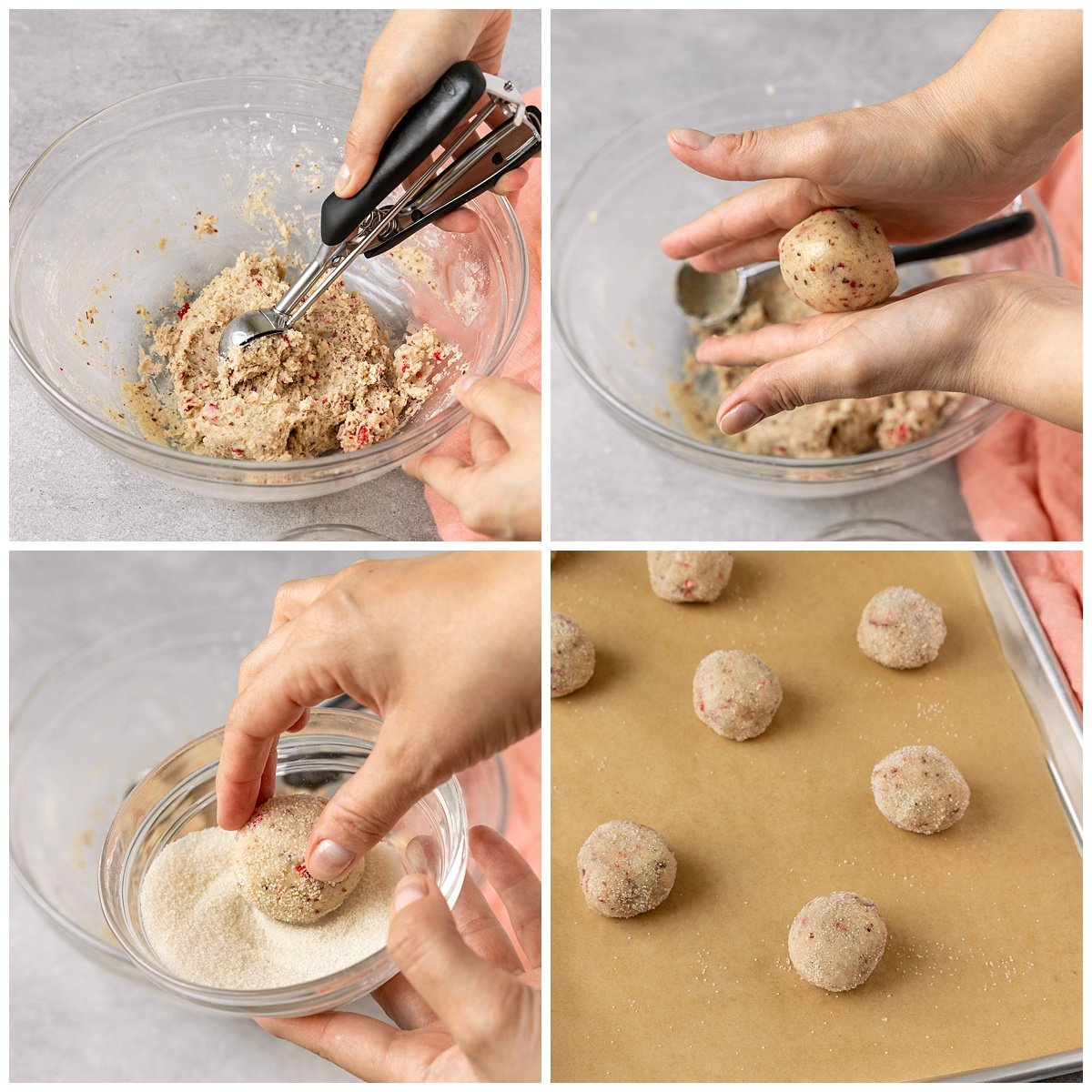 four pictures of cookie dough being rolled in sugar and placed on baking sheet