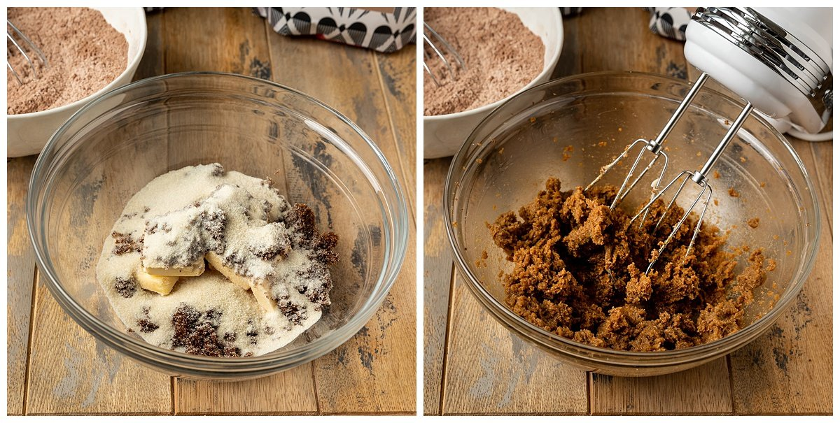 two pictures of butter, sugar, and brown sugar in mixing bowl getting creamed together