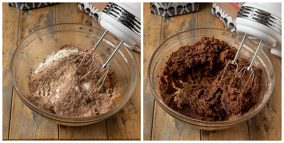 adding dry ingredients to mixing bowl and turning into a chocolate cookie dough