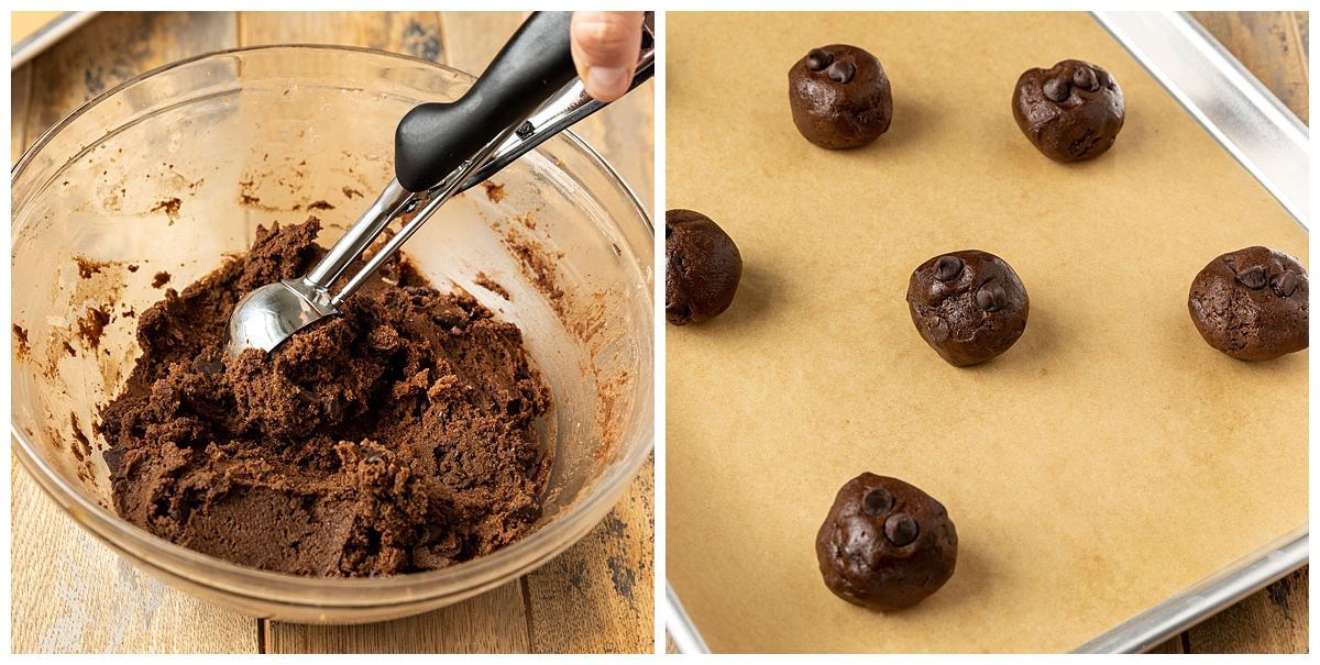 two pictures scooping cookie dough balls then adding them to a baking tray lined with parchment paper