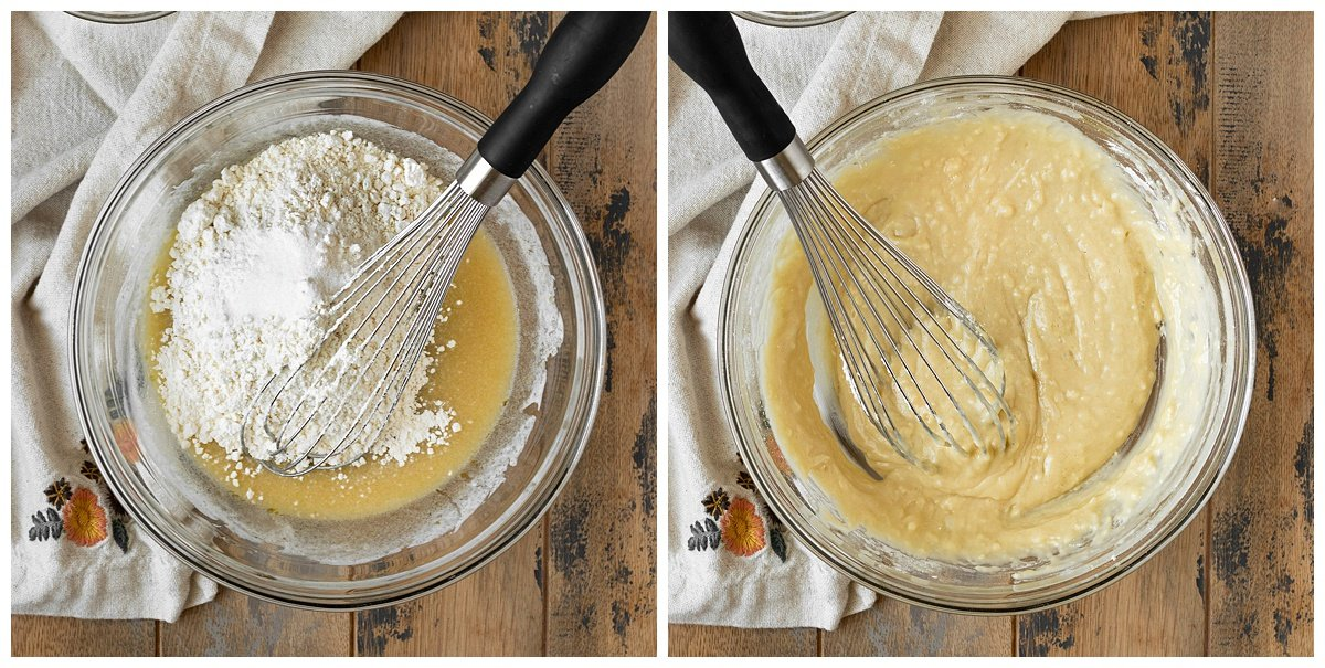 two pictures of dry ingredients being added then mixed into a coconut cupcake batter