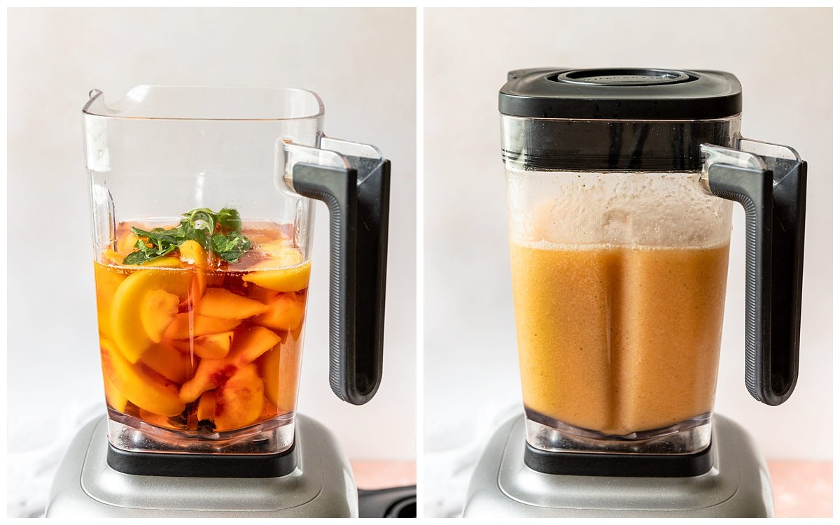 two blender of blending full of peaches, rose, mint, and honey then blended together