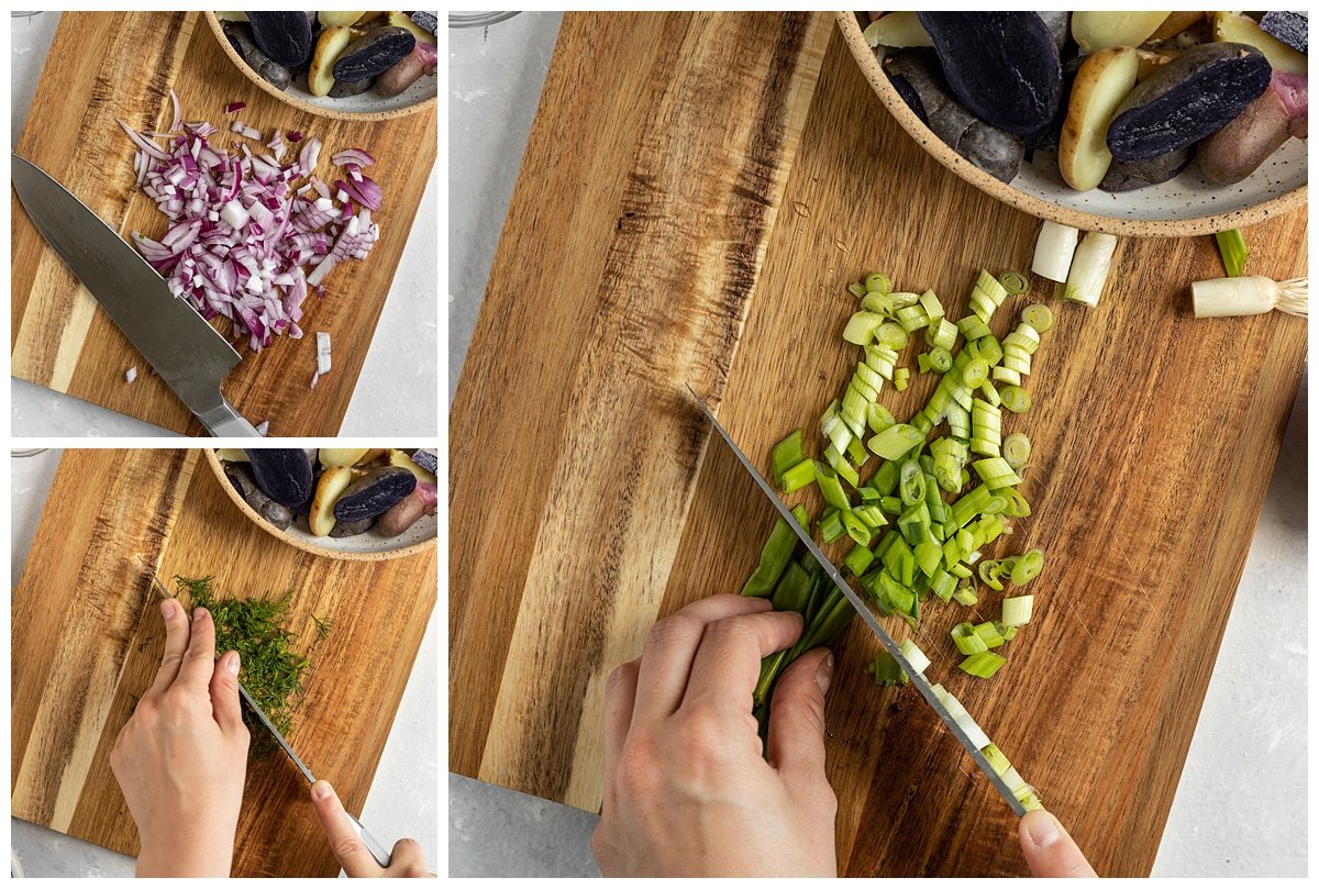 three images of scallions, red onions, and dill being chopped up on wooden board