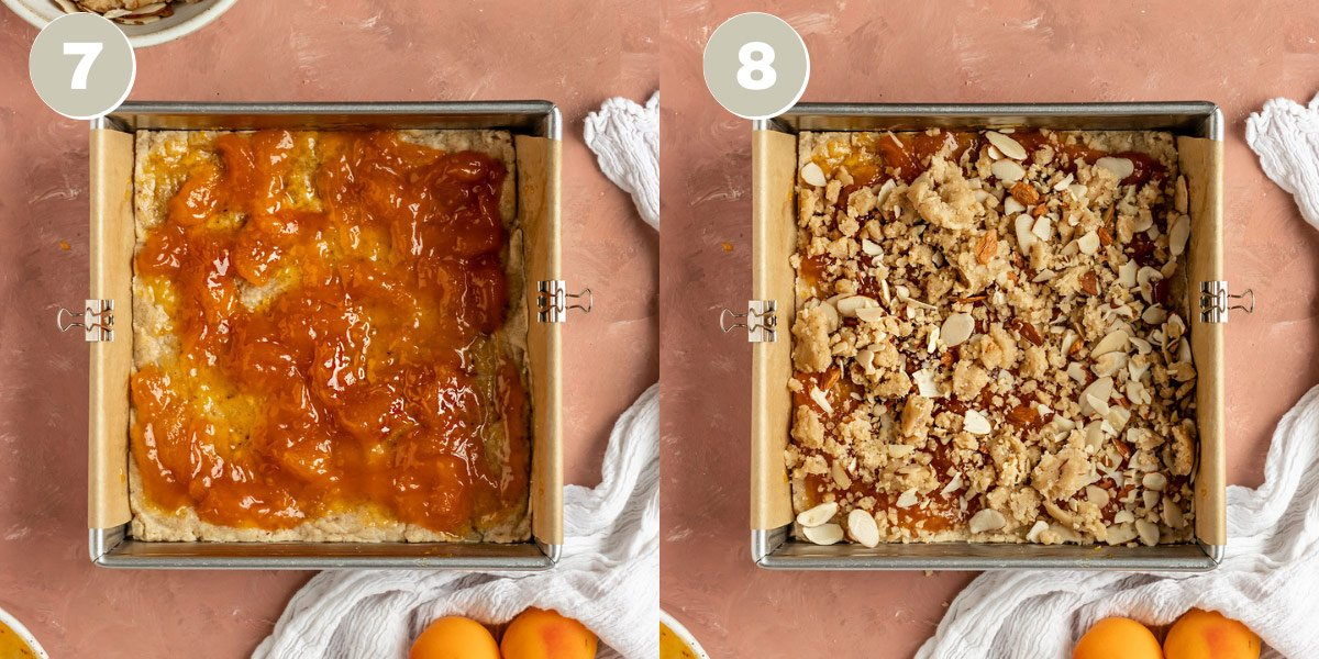 two pictures of apricot jam and crumble topping being added to crust in an 8 by 8 inch pan