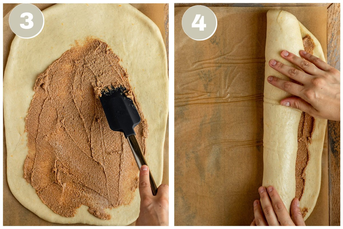 adding cinnamon sugar filling to dough and rolling into a log