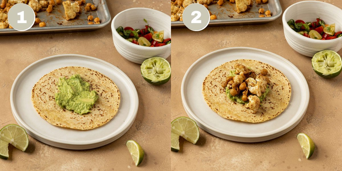 two pictures of taco shell getting filled with toppings like avocado, chickpeas, cauliflower, and pico de gallo