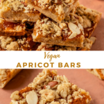 """a picture of apricot bars with text """"vegan apricot bars"""""""