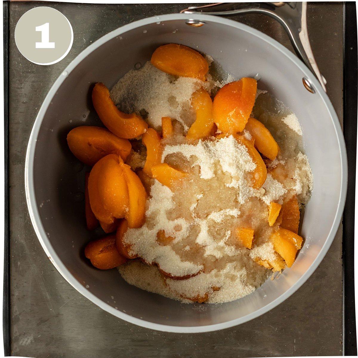 apricots, sugar, and lemon juice in a saucepan
