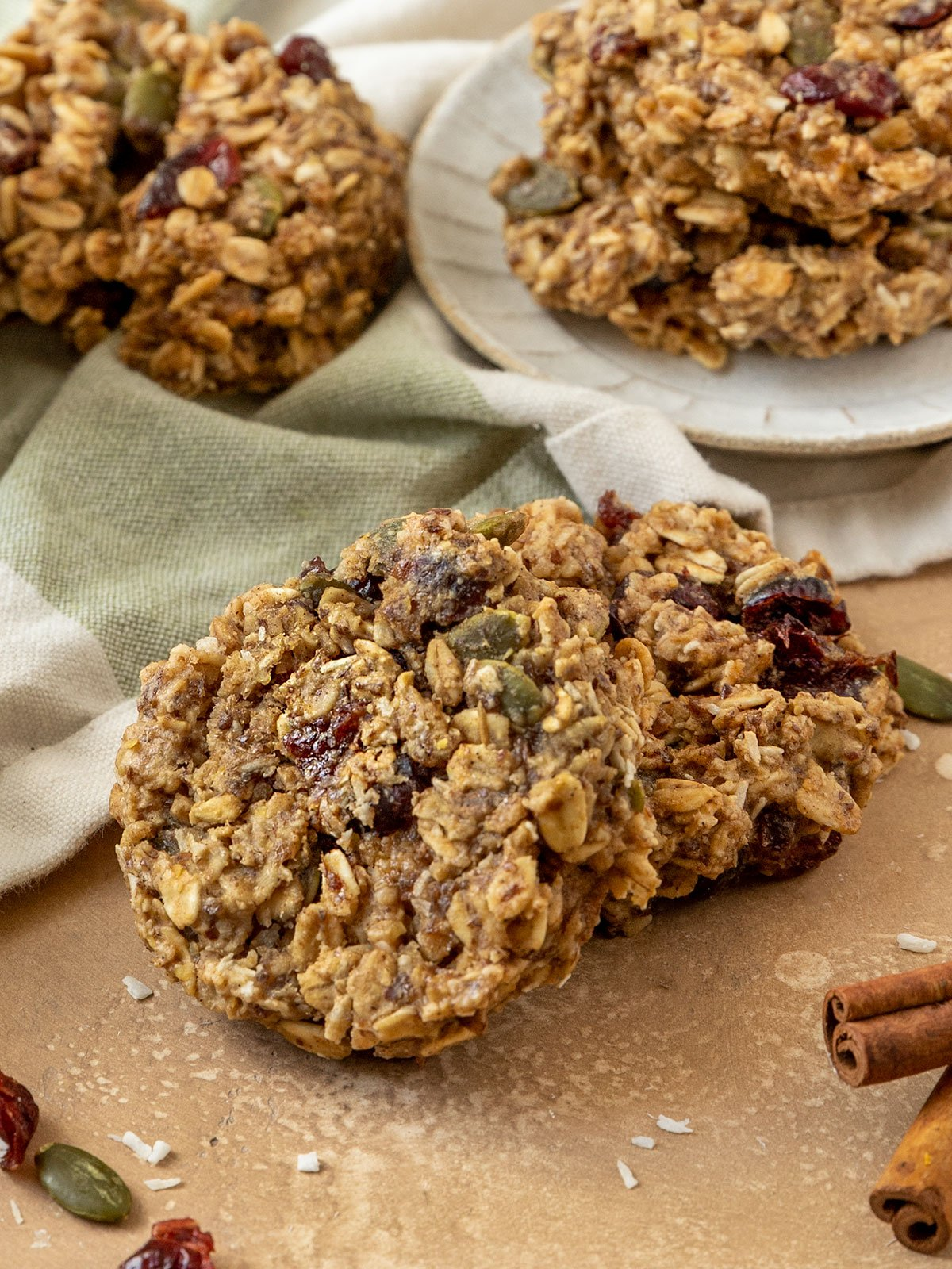 two breakfast cookies with pepitas, oats, cranberries, and coconut