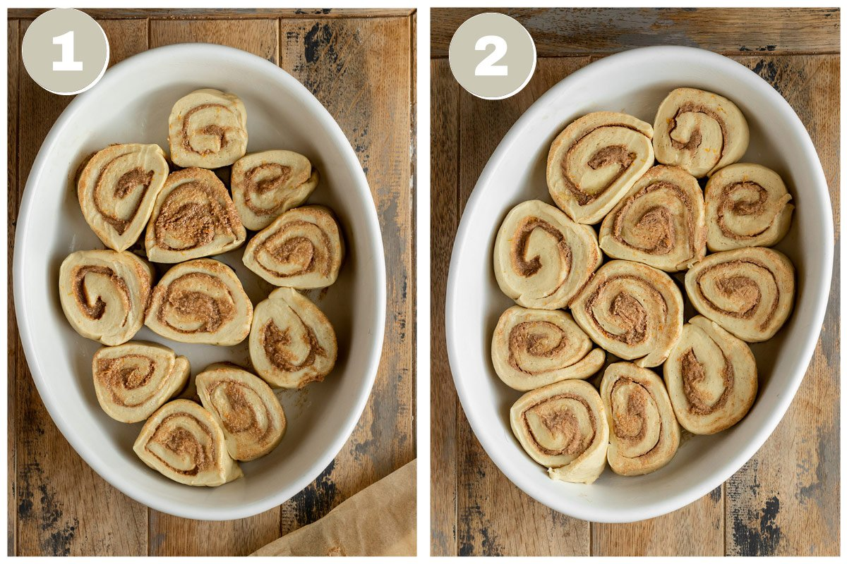 two pictures of cinnamon roll slices in a ceramic baking dish