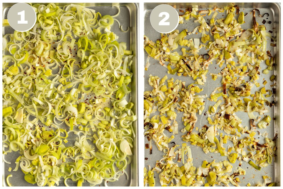 picture of leeks on baking tray before and after baking