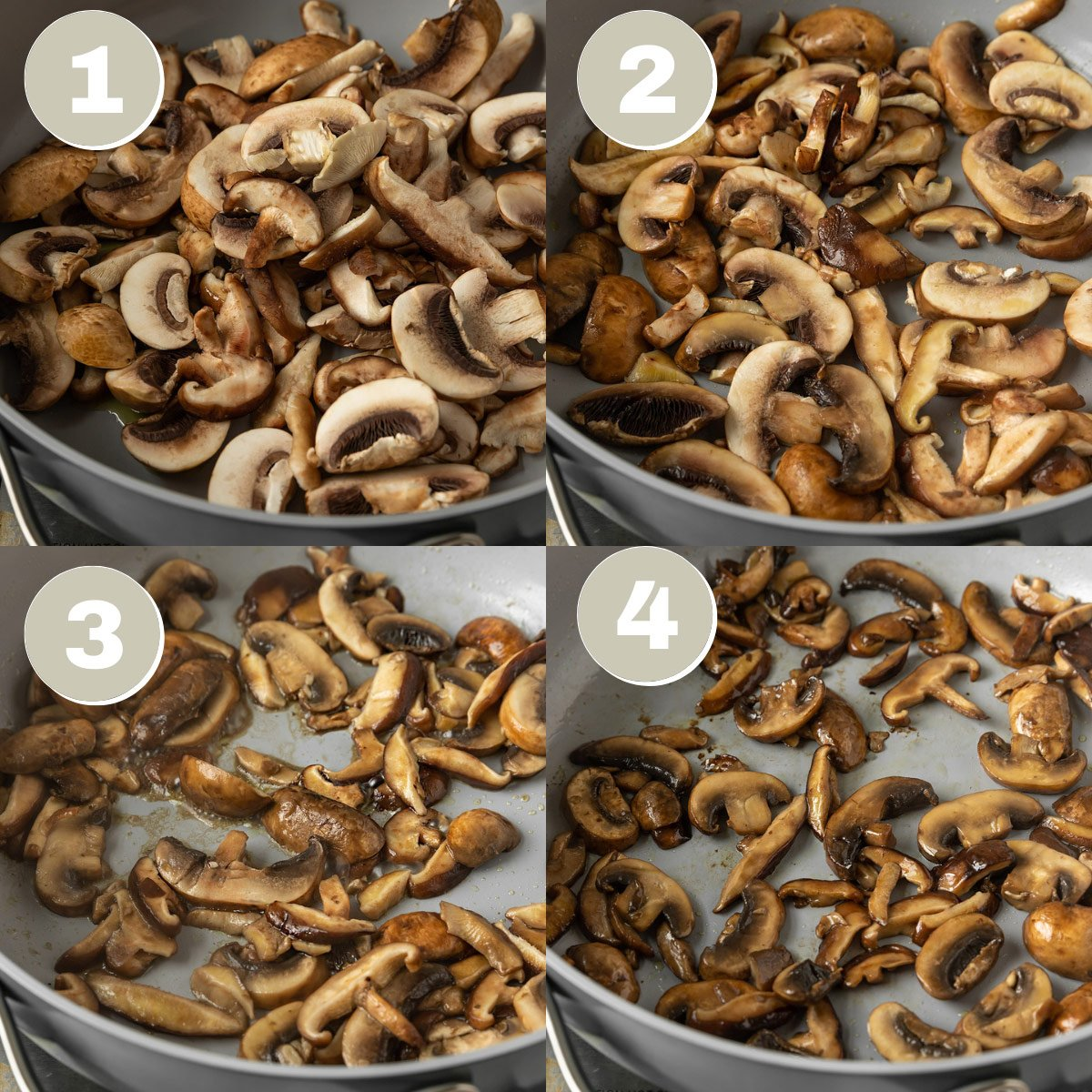 four pictures showing mushrooms being cooked in pan until crispy