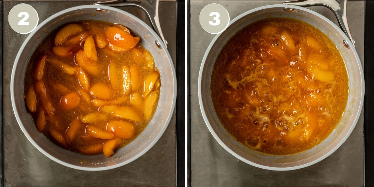 two pictures showing apricot jam at being made in a saucepan