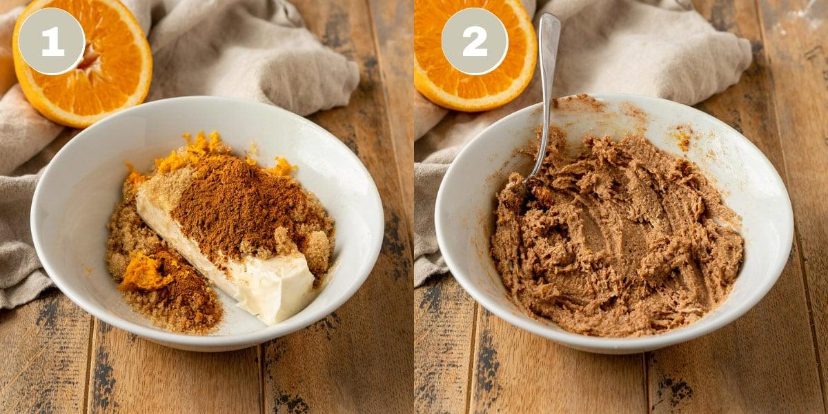 vegan butter, brown sugar, cinnamon, and orange zest being mashed together in bowl