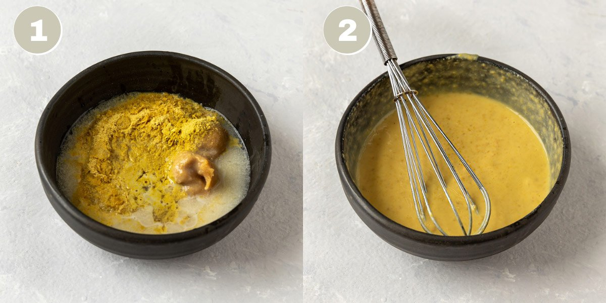 two pictures of miso butter sauce ingredients in a bowl getting whisked together