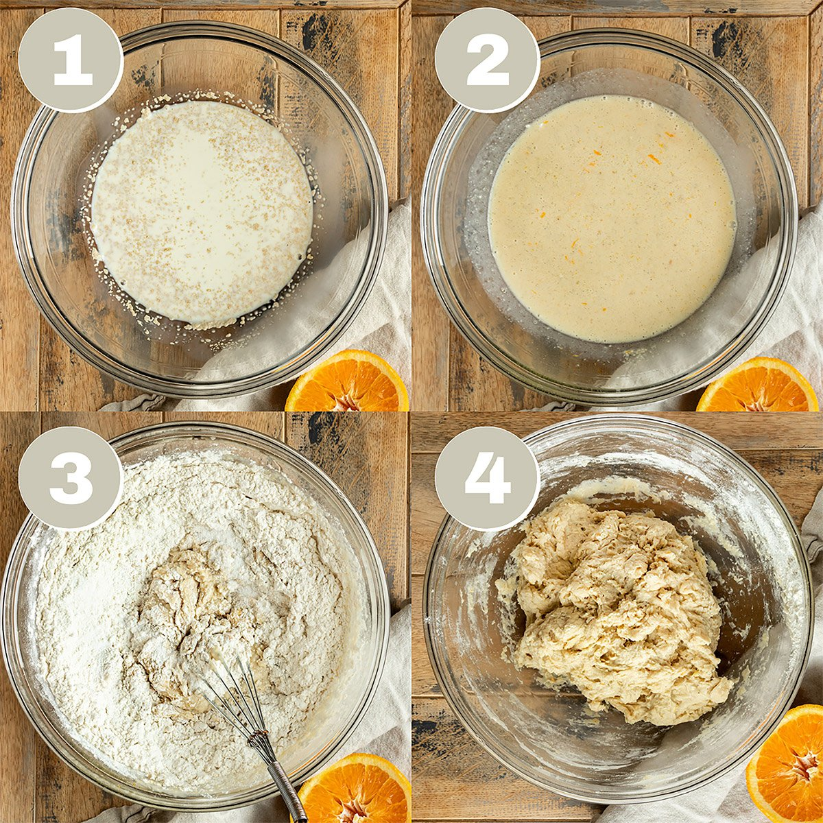 four pictures of orange cinnamon roll dough being made in a mixing bow