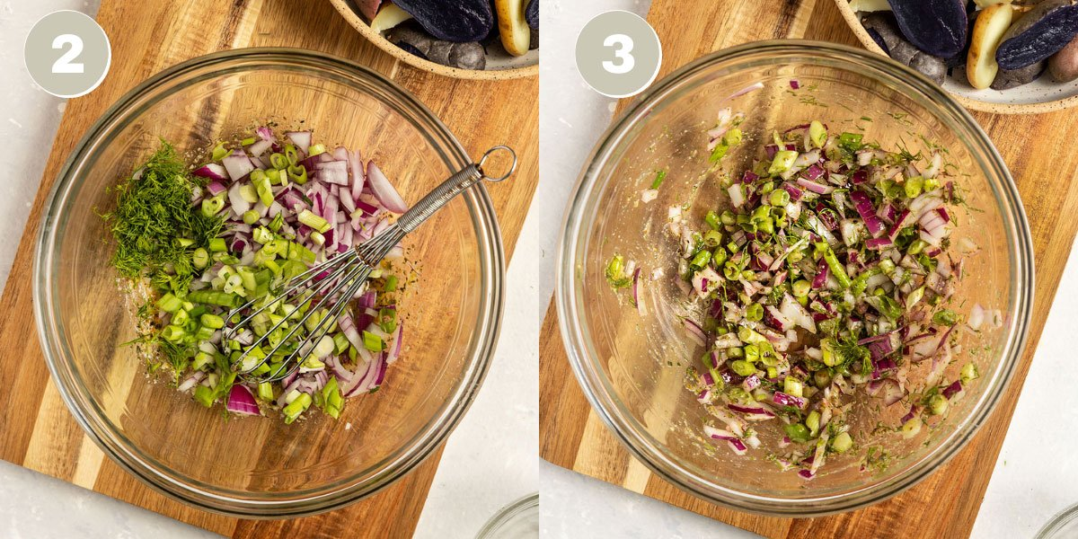 two pictures of veggies getting mixed with a dressing in a large bowl