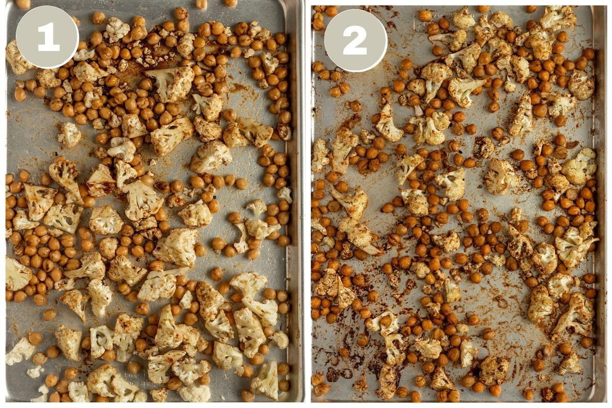 two pictures of cauliflower and chickpeas on sheetpan before and after roasting
