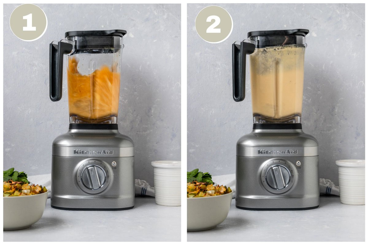 two pictures of veggie broth and cashews being blended in blender