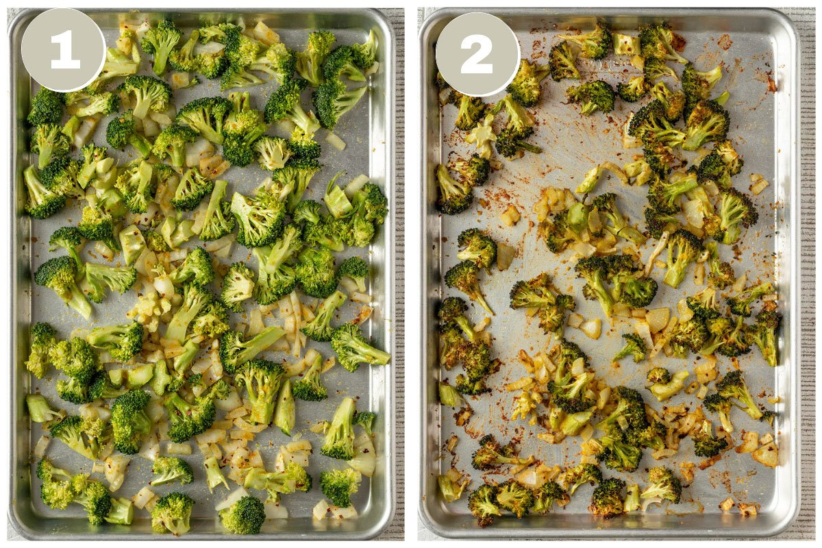 two pictures of broccoli and onions on sheet tray before and after roasting