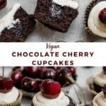 """two images of cupcakes with text overlay """"vegan chocolate cherry cupcakes""""."""