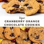 "cookies with text overlay ""vegan cranberry orange chocolate cookies""."