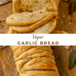 """two pictures of bread with text overlay """"vegan garlic bread"""""""