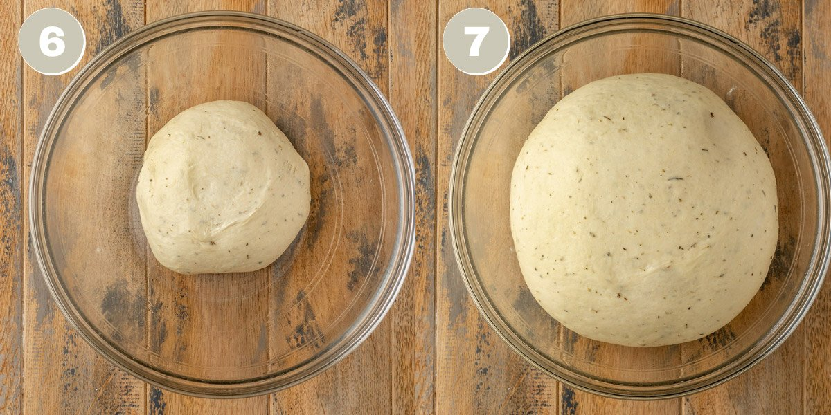 garlic bread dough proofing in a mixing bowl