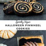 "pinwheel cookies with text ""spooky vegan halloween pinwheel cookies""."