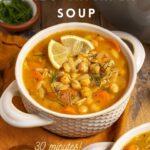 """lemon soup with text overlay """"vegan lemon orzo chickpea soup"""""""