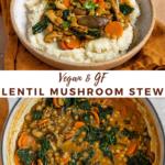 "lentil stew with text overlay ""vegan & gf lentil mushroom stew""."