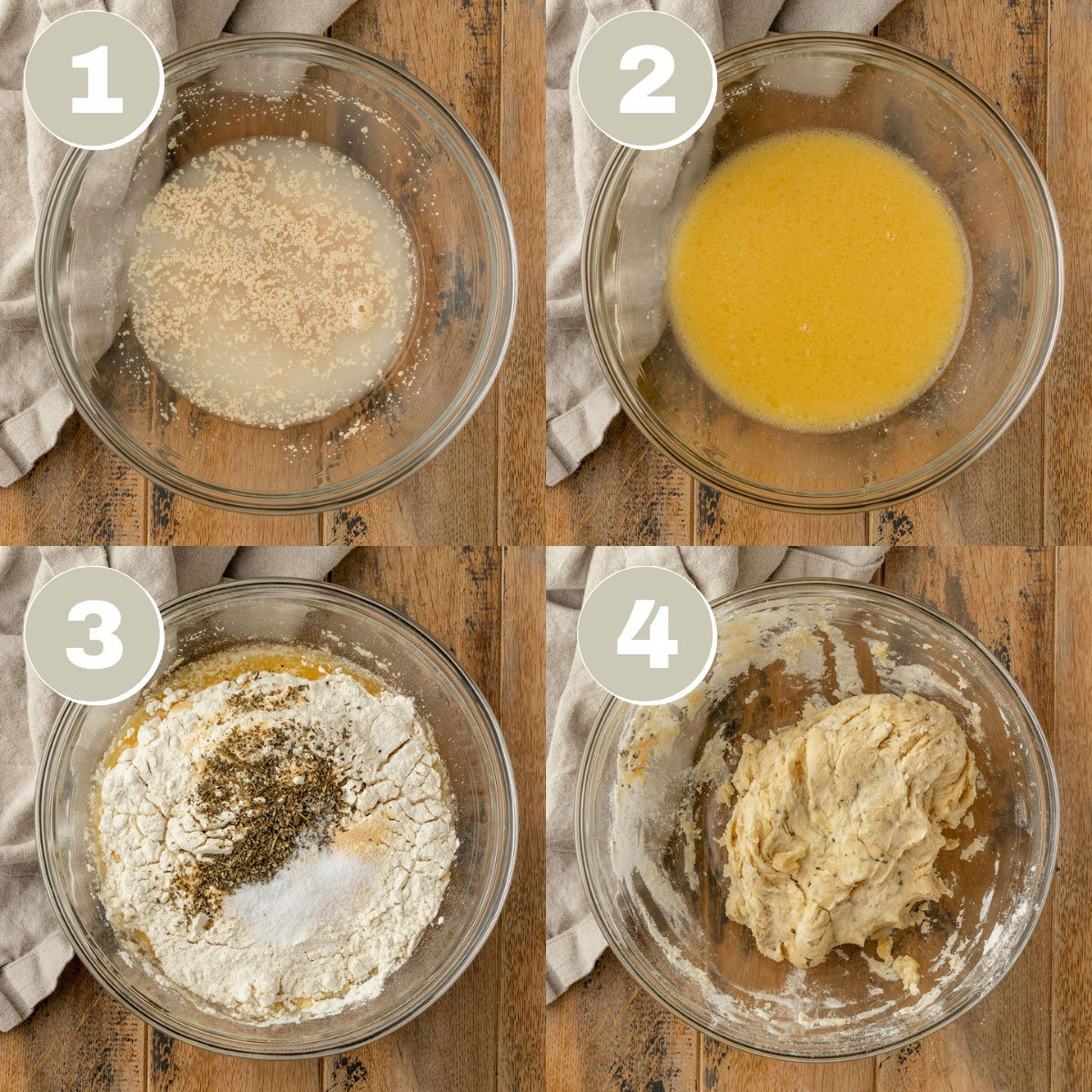 four images of garlic bread dough ingredients getting mixed together into dough