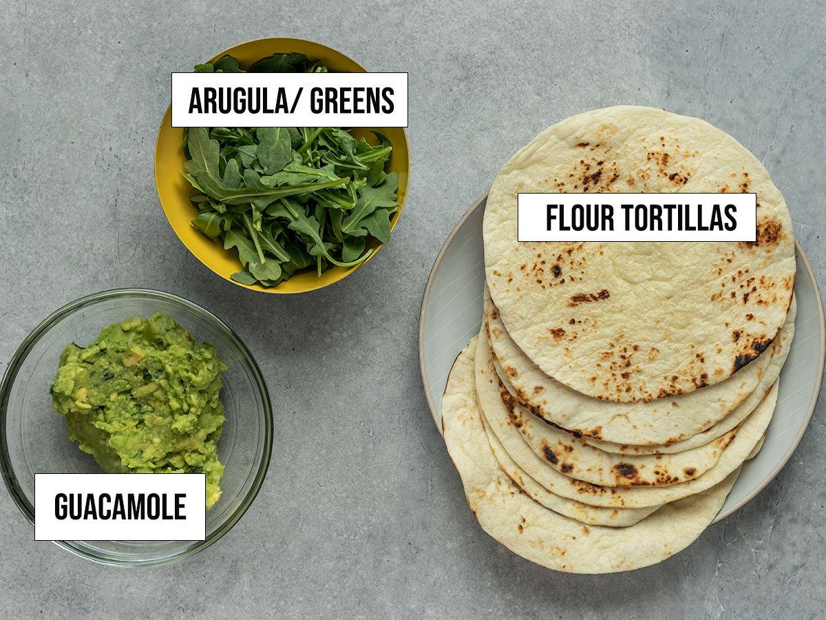 labeled ingredients including guacamole, flour tortillas, and arugula