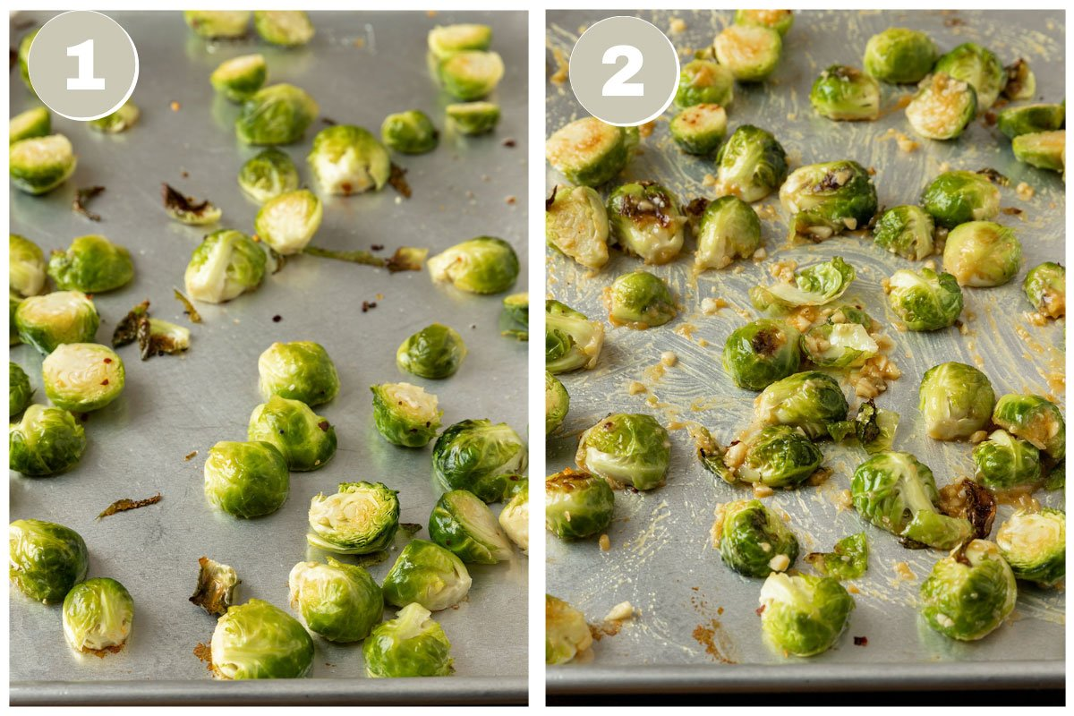 two pictures of brussel sprouts being roasted on a sheet pan and getting miso glaze added