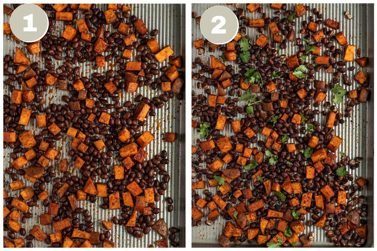 two pictures of black beans, sweet potatoes, and cilantro being roasted on tray