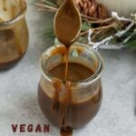"""picture of caramel with text """"vegan salted caramel, refined sugar-free!""""."""